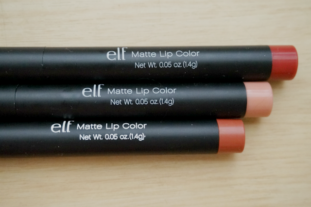 e.l.f. Studio Matte Lip Color Review | Praline, Coral, Cranberry