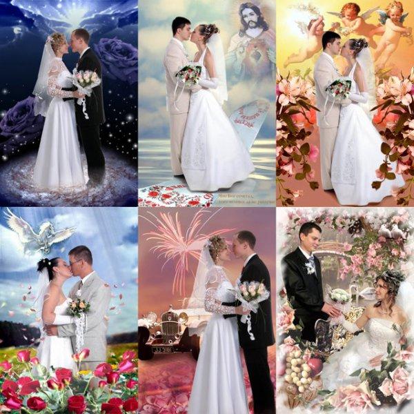 Coleccion de plantillas para fotomontajes de bodas (Psd)