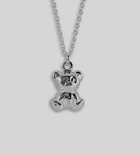 Teddy bear sterling silver necklace aloadofball Images