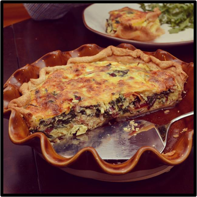 A Texas Belle: Swiss Chard & Pancetta Quiche