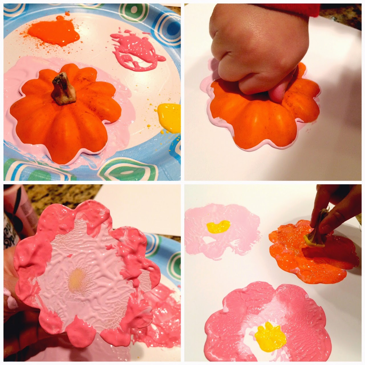 Stamping with Acorn Squash - Kid Craft - LeroyLime