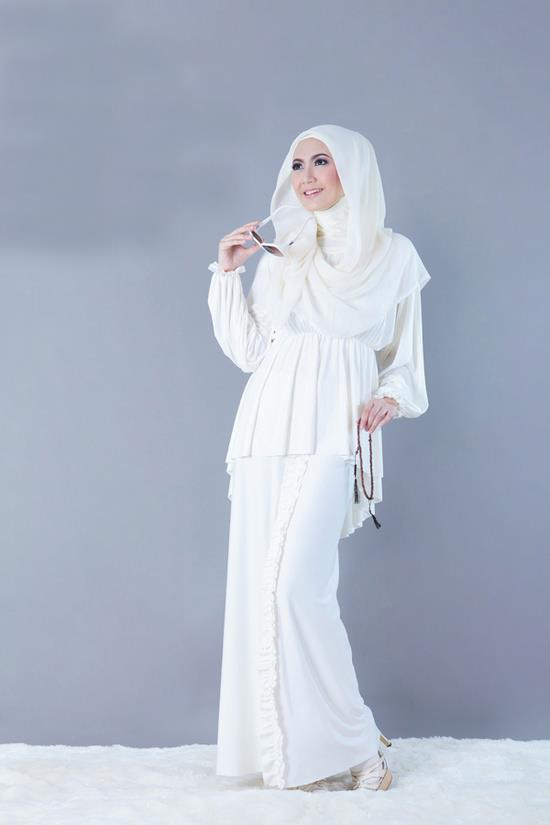 Baju Muslim Modern Terbaru Gamis Putih - Baju Muslim Modern