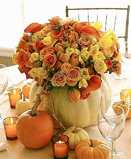 flower arrangement, centerpiece, white pumpkin designed with a huge assortment of flowers, fall, thanksgiving table decor
