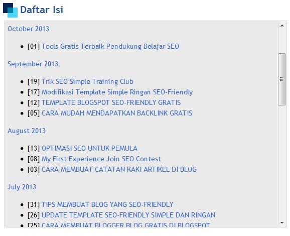 daftar isi di blog secara otomatis