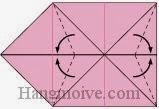 Bước 7: Gấp chéo 4 góc giấy ra ngoài.