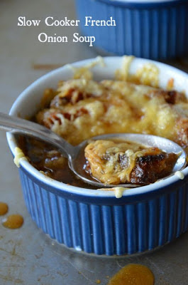 Slow Cooker Lighter French Onion Soup from Mountain Mama Cooks featured on SlowCookerFromScratch.com