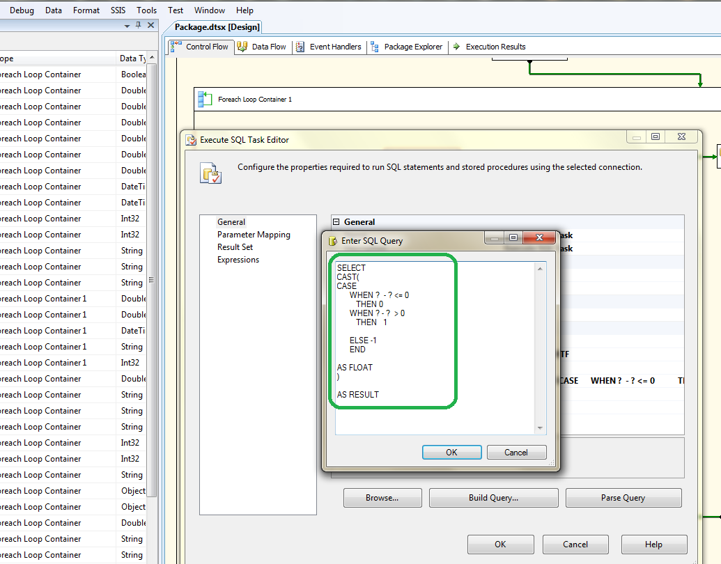 How to fix the SSIS error :  Parameter name is unrecognized. 1