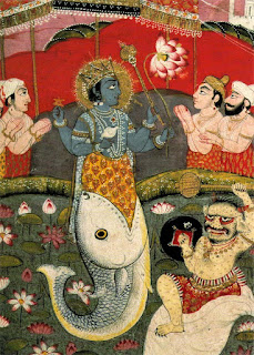 Image of Matsya - the fish avatar of Vishnu, holding the shankha in his right lower hand: He kills a demon called Shankhasura, who emerges from another shankha.
