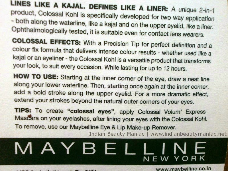 Maybelline Colossal Kohl in Turquoise claims