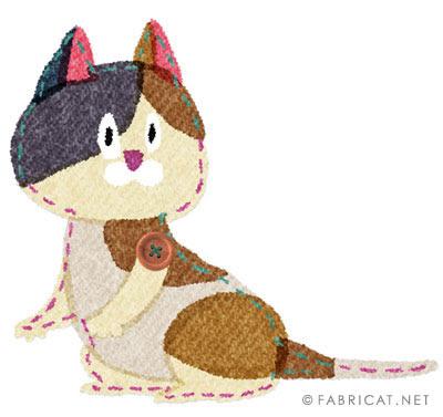 振り返るかわいい三毛猫のイラスト