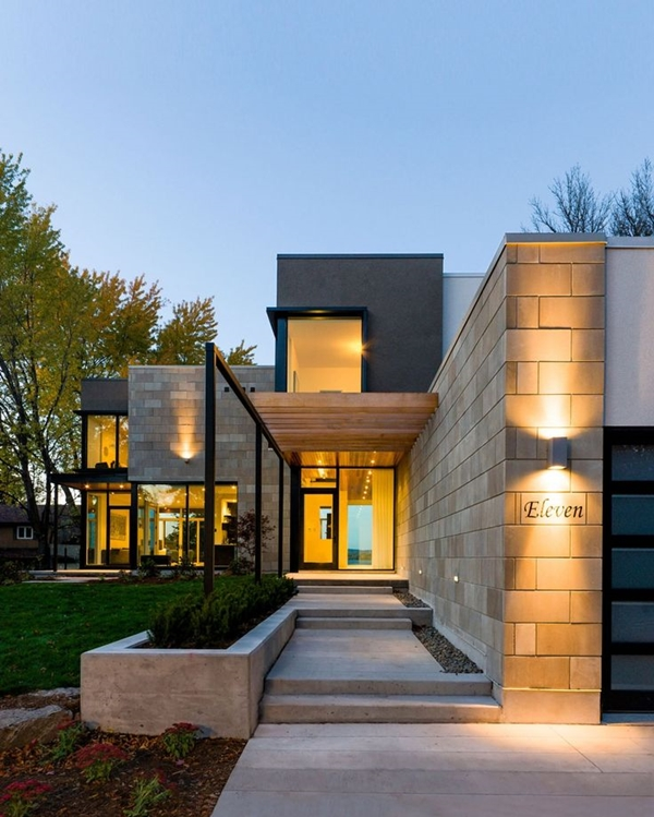 World of architecture 30 modern entrance design ideas for for Exterior home lighting design