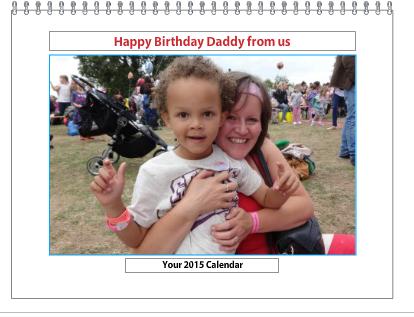 Personalised Photo Calendar cover at Photobox