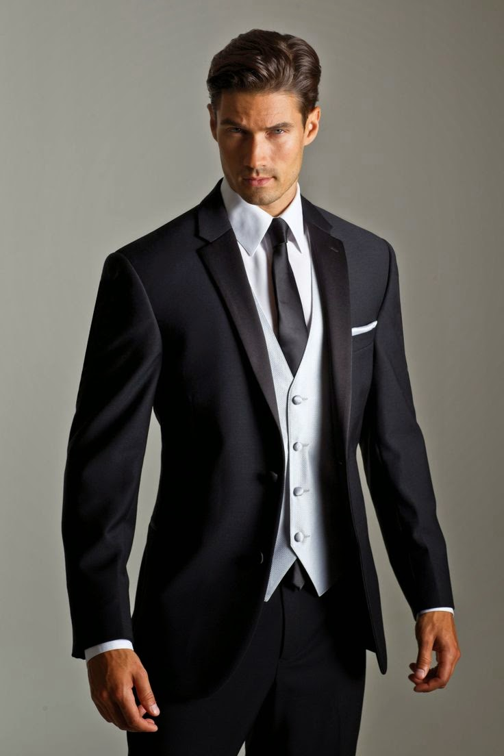 Grey Suit Black Shirt White Tie Dress Yy