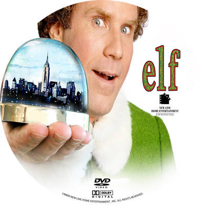 Elf 2003 Will Farrell holding a globe of NYC on the DVD