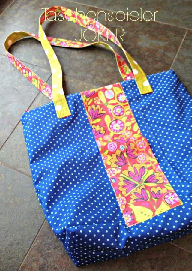 Shopper Einkaufstasche Joker Taschenspieler Schnittmuster Farbenmix blau gepunktet