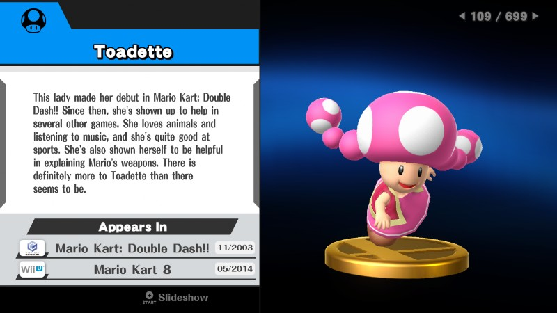 Toadette trophy Super Smash Bros. 4 For Wii U description