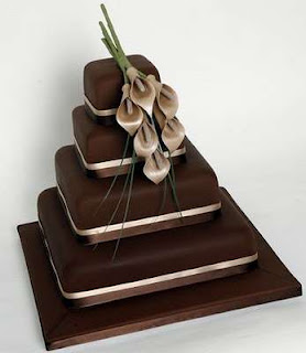 Chocolate Square Wedding Cakes with Calla Lilies