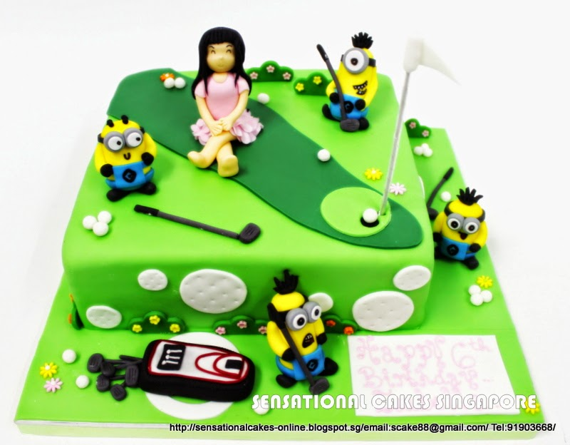 The Sensational Cakes Missy Golfer W Minions Green Hole In