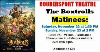 11-22/23 Matinees At Coudersport Theatre