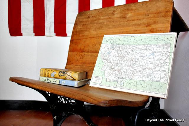 Modge Podge, schoolhouse, DIY, decoupage, glue, canvas, vintage map, http://bec4-beyondthepicketfence.blogspot.com/2015/09/map-canvas.html