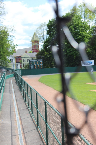 This baseball field in Cooperstown is clean with lots of seating space.