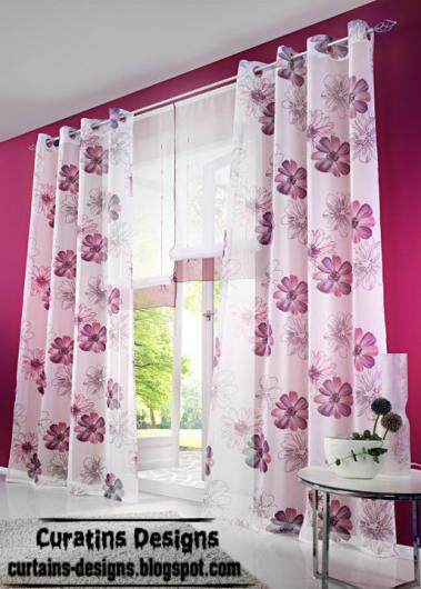 Contemporary purple curtain design with flower hooks