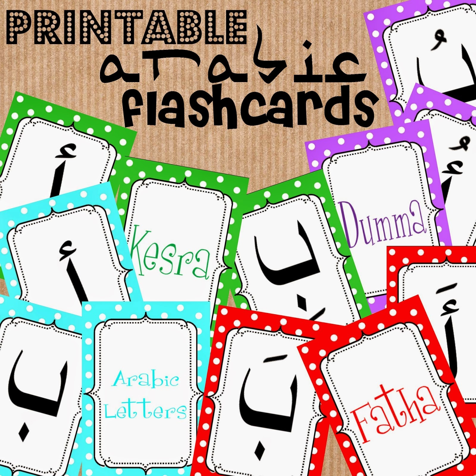 Arabic alphabet flashcards with harakat