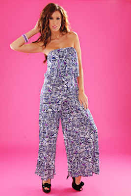 BLUE WHITE GEOMETRIC PRINTS STRAPLESS JUMPSUIT OUTFIT