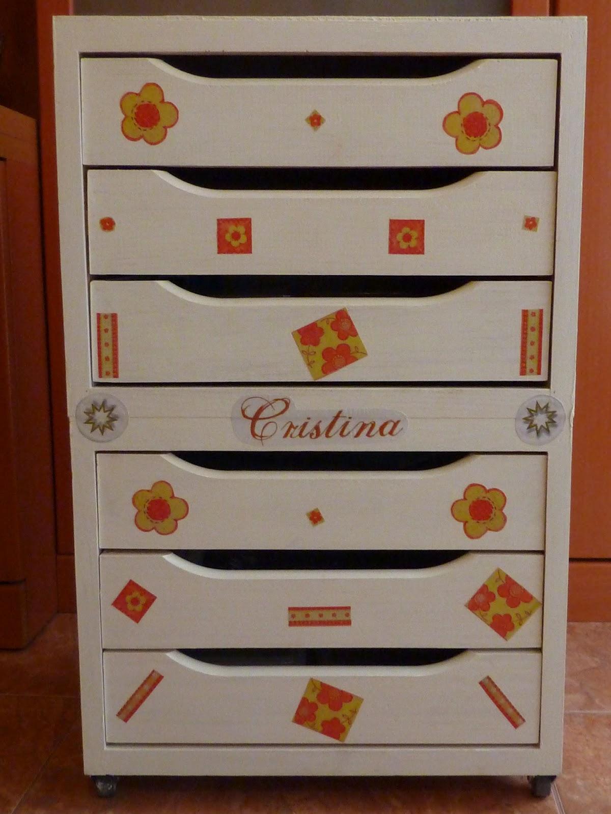 Las manualidades de cristi cajonera decorada con decoupage - Cajoneras decoradas ...