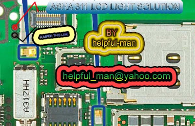 Solution Free : NOkia Asha 311 LCD Light Repair Solution Jumper Ways