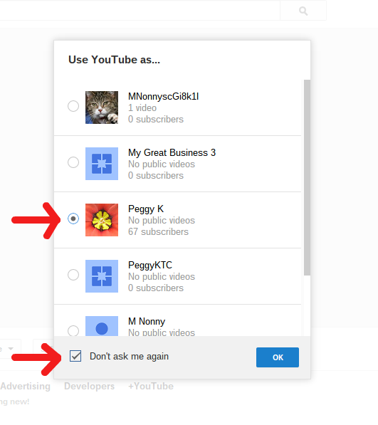 Select a default channel when you sign into YouTube