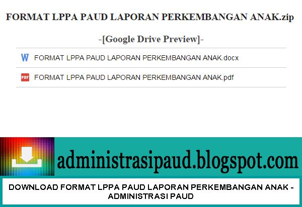 Format LPPA PAUD (Laporan Perkembangan Anak)