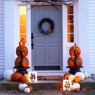 fall decorating, fall outdoor decorating, Halloween decor