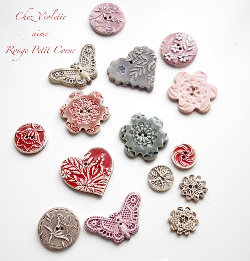 Les boutons en céramique faits main par Rouge Petit Coeur