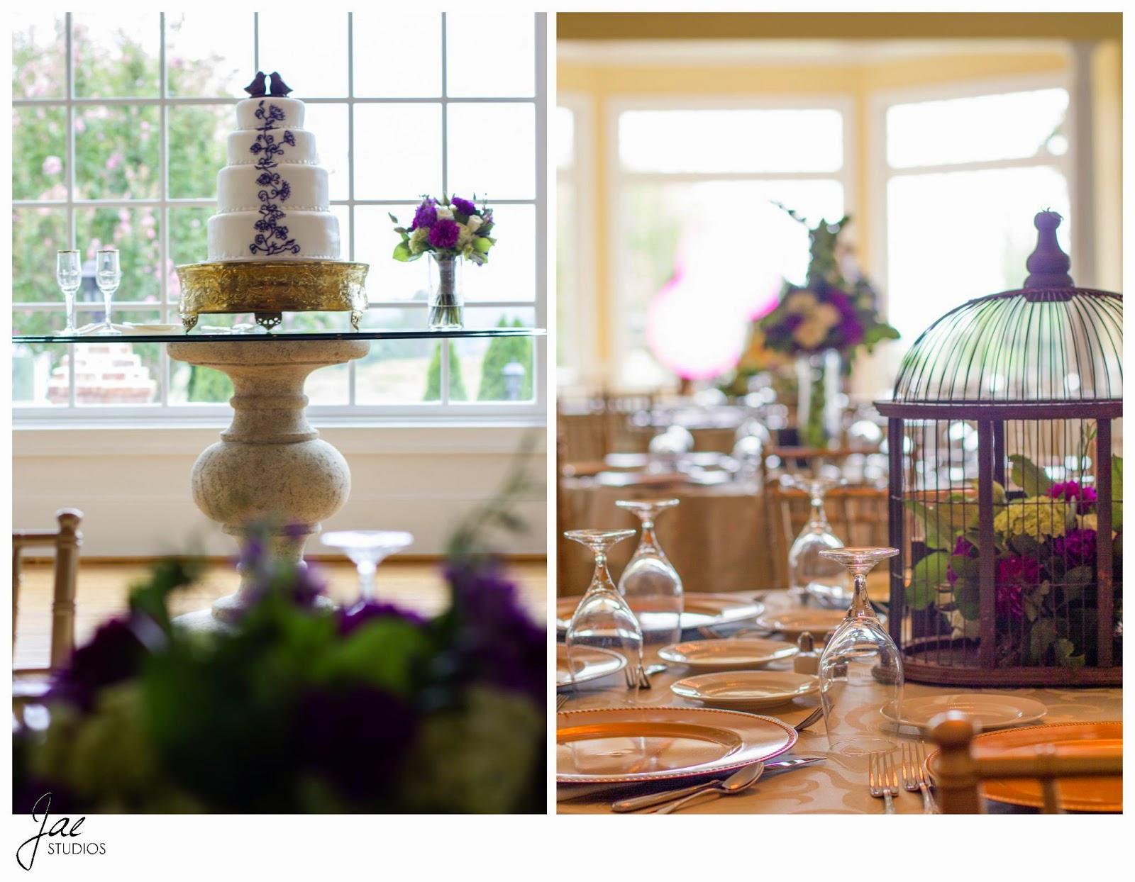 Jonathan and Julie, Bird cage, West Manor Estate, Wedding, Lynchburg, Virginia, Jae Studios, cake, bird, chocolate, blue flowers, gold, white, purple flowers, bird cage, window, glass, table