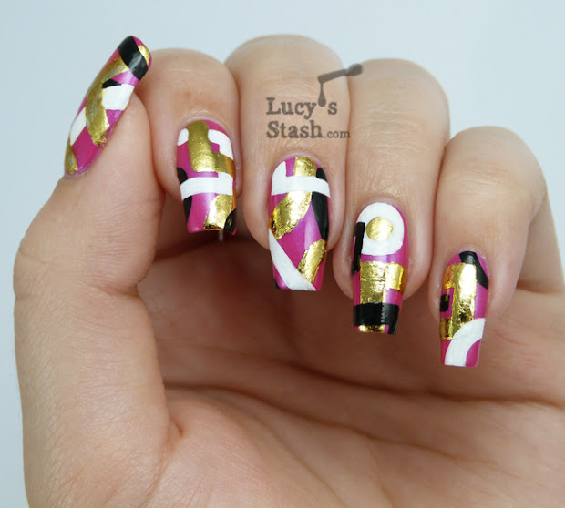 abstract nail art design over cnd