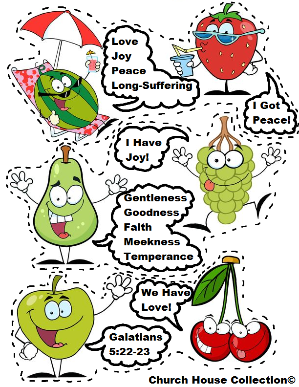fruit of the spirit free printable template cutout activity craft for preschool kids strawberry watermelon pear grapes apple cherry galatians 522 23