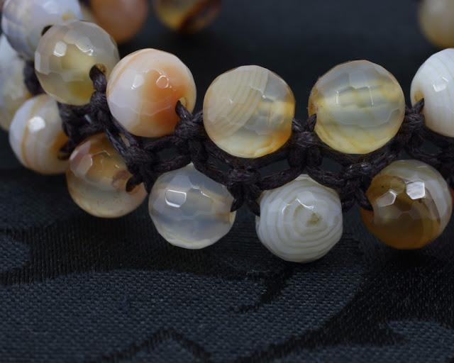Pleciona bransoletka z agatem fasetowanym