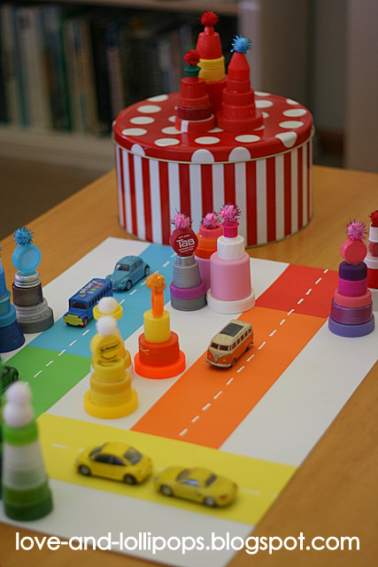Love and lollipops seussville bottle top and pom pom town for Things to make with plastic bottles for kids