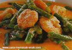 resep praktis (mudah) memasak masakan sayur kacang panjang santan spesial enak, gurih, lezat