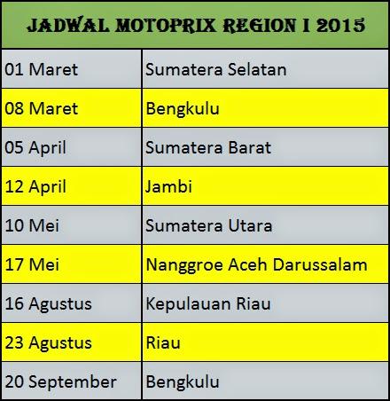 Jadwal Motoprix 2015 Region 1, 2, dan 3
