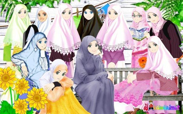 Gambar Kartun Keluarga Muslim