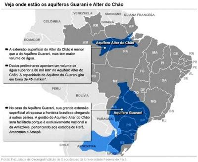 Mapa mostrando os 2 Principais aquíferos brasileiros