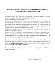 NOTA INFORMATIVA CONCURSO DE ACCESO PERSONAL LABORAL CATEGORÍAS PROFESIONALES GRUPO V