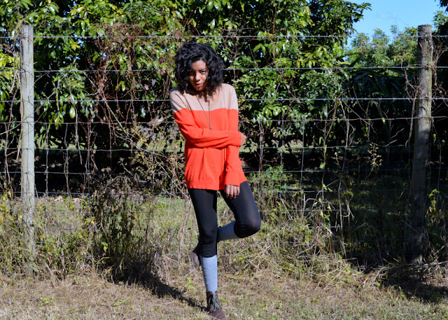 Fashion Blogger Anais Alexandre of Down to Stars in a dual tone Merona sweater, leather leggings and combat boots