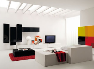 Diseño Sala blanca con acentos