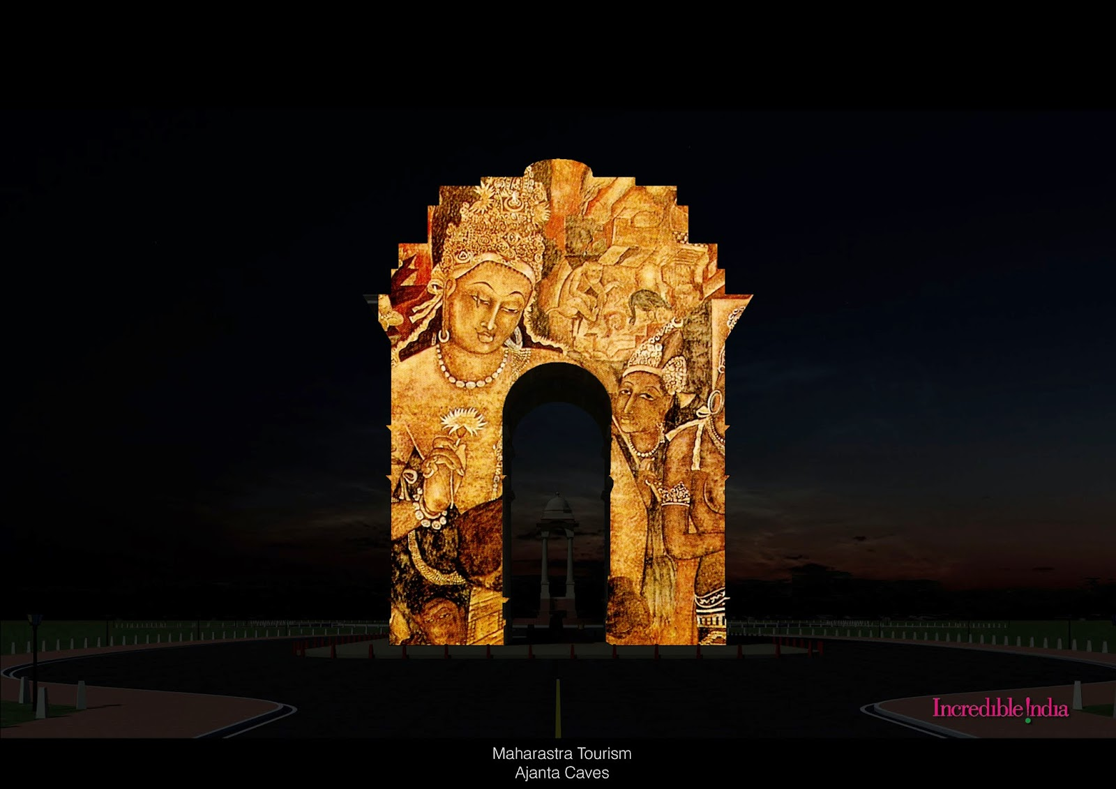 Chandrakanth rajapure 3d projection mapping india gate for Archaeological monuments in india mural paintings