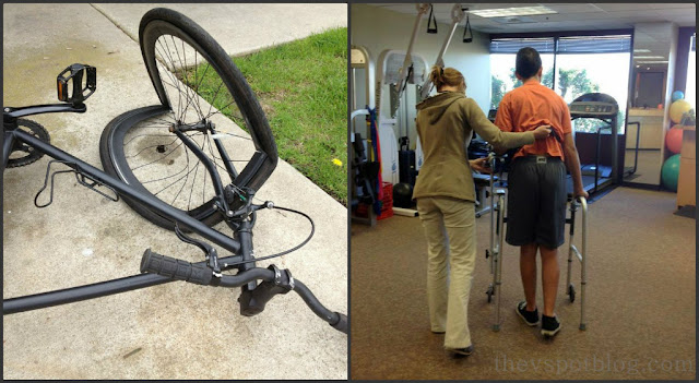 bike, bent wheel, totalled, physical therapy, walker, rehab