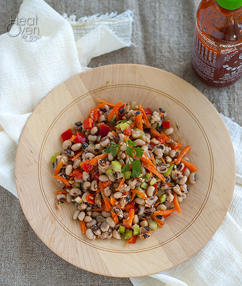 Black Eyed Pea Salad with Sriracha Vinaigrette