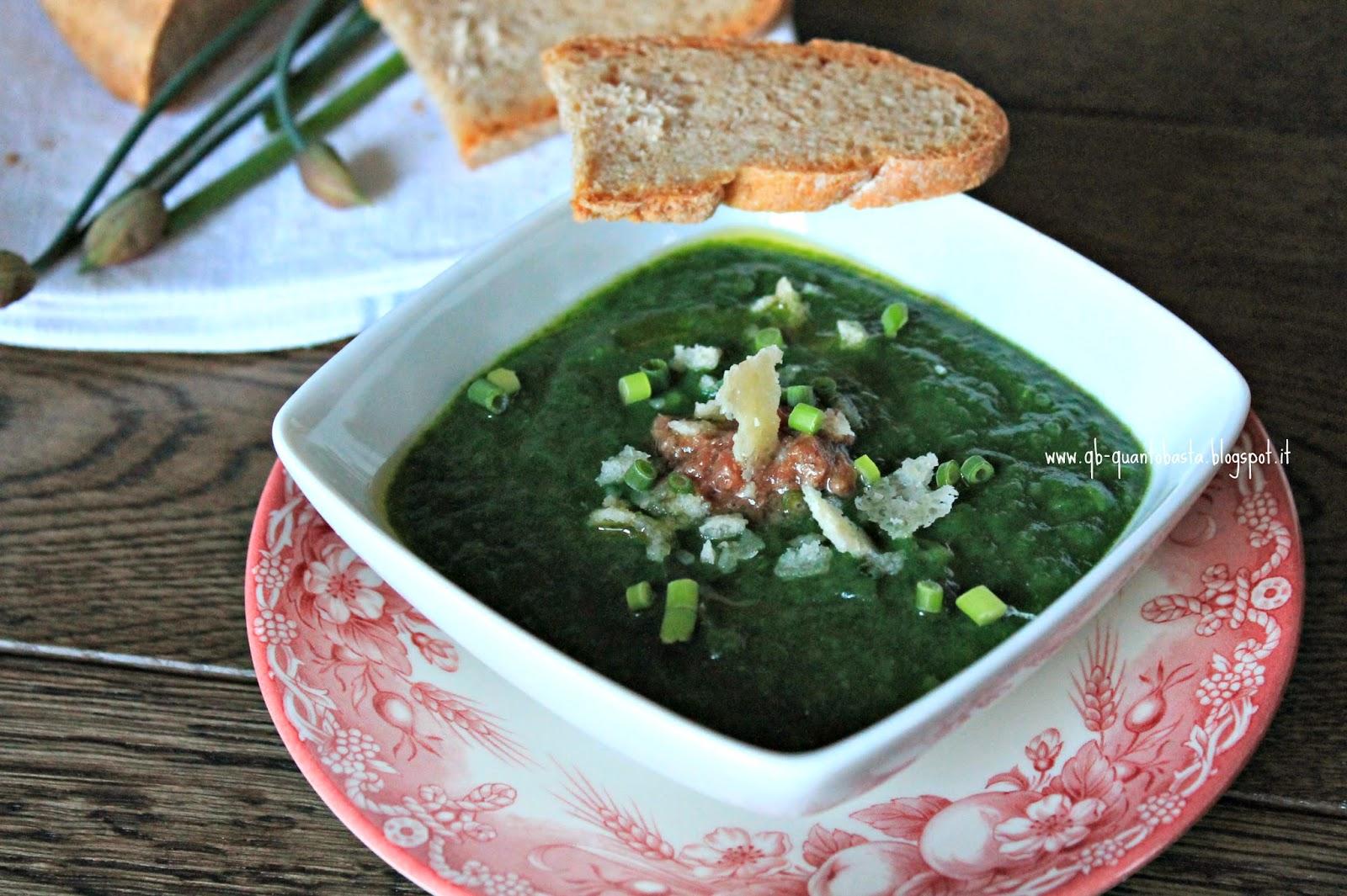 Q.b. - Quanto Basta: Morbido di spinaci e patate con acciughe, parmigiano croccante ed erba cipollina